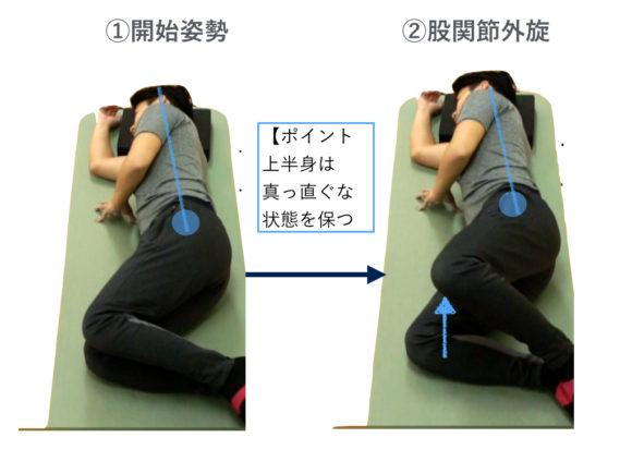 股関節外旋トレーニング(上からの図)
